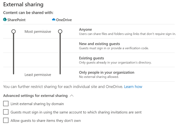 External sharing  Content Gn with  and uisting  Existing gusts  Only in orgmintim  Yau can hurther restrict sharing for each individual site and Oneorive, Learn how  sturing  Ld'it Ot«naJ  Gu5ts sign in wing which shuing am  guBts to