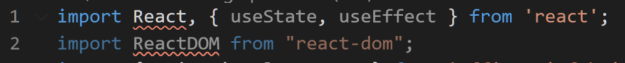 React and ReactDom import statement is underlined in red