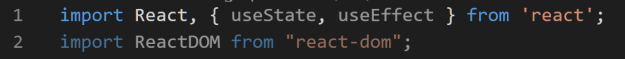 React and ReactDom import statement are validated