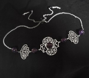 Foroogh's custom amethyst & silver inital headpiece