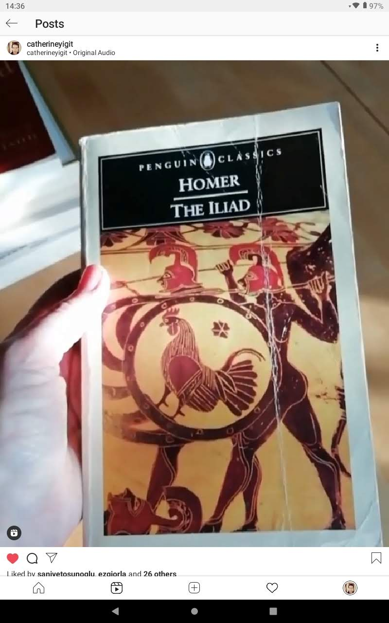 A hand holding the book The Iliad by Homer