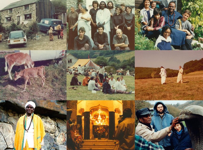 A collage of images from Skanda Vale Ashram's 40 year history