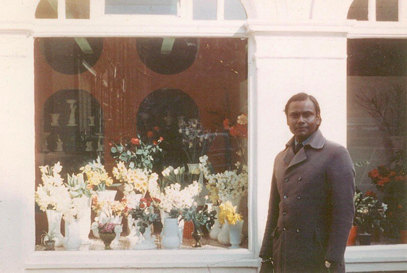 Guru Sri Subramanium outside his Chelsea flower shop in London in the late 1960's.