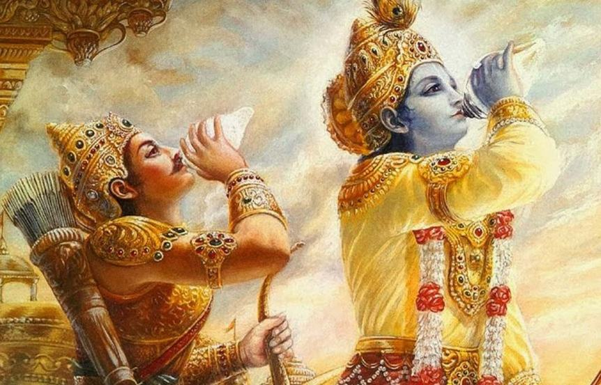 Lord Krishna and Arjuna blowing conches.
