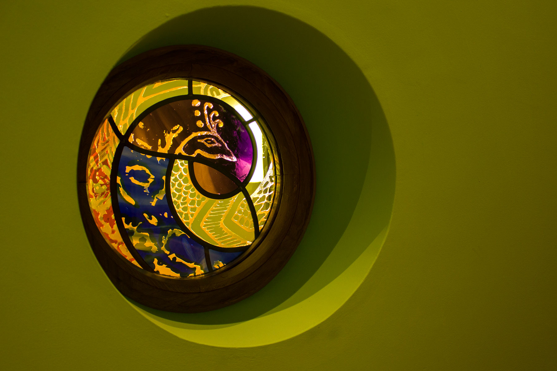 Swansea based stained glass artist Catrin Jones made a pair of beautiful peacock windows for the new hospice.
