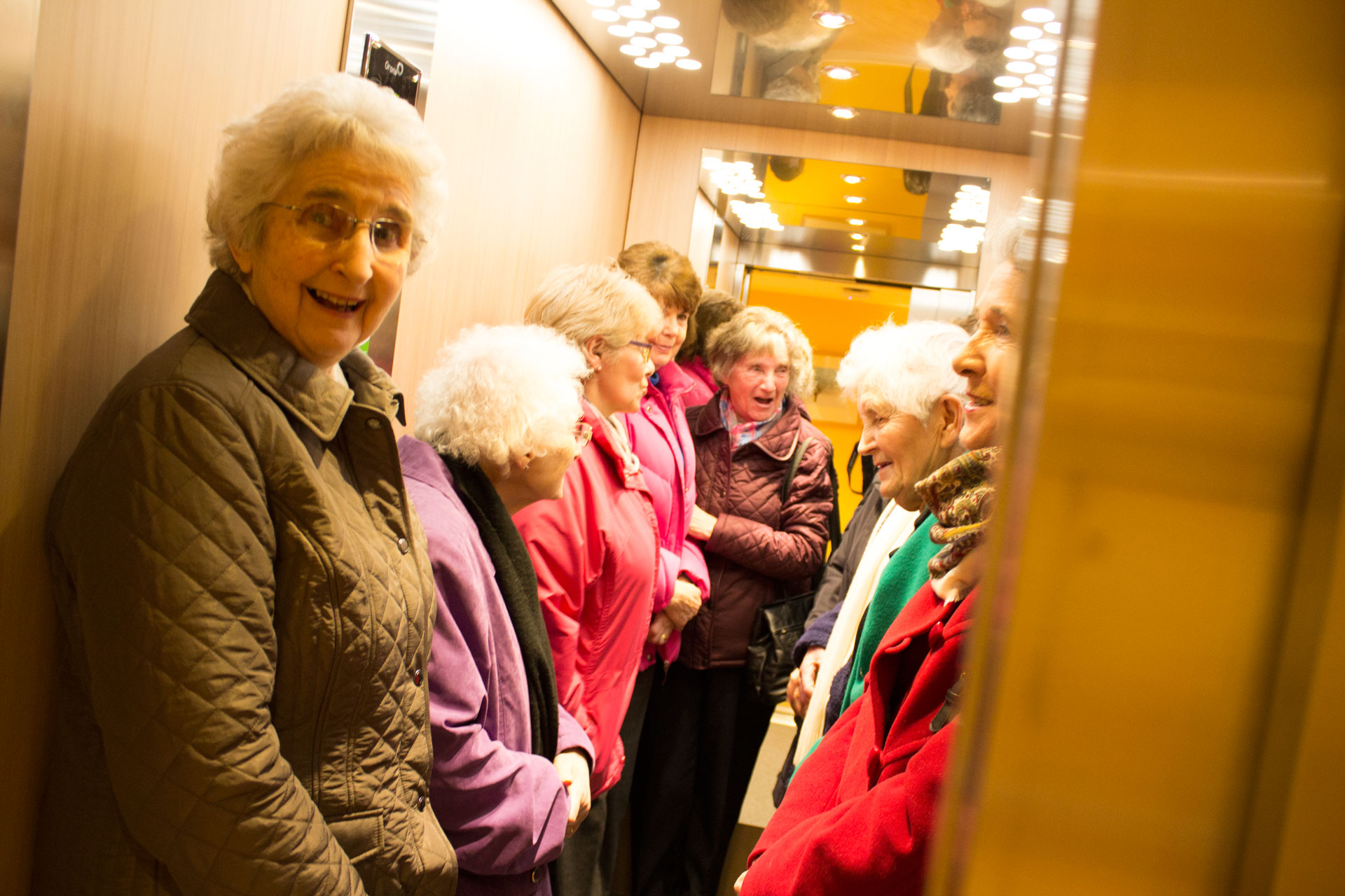 Having a laugh in the lift - a group of ladies at the Skanda Vale Hospice open day.