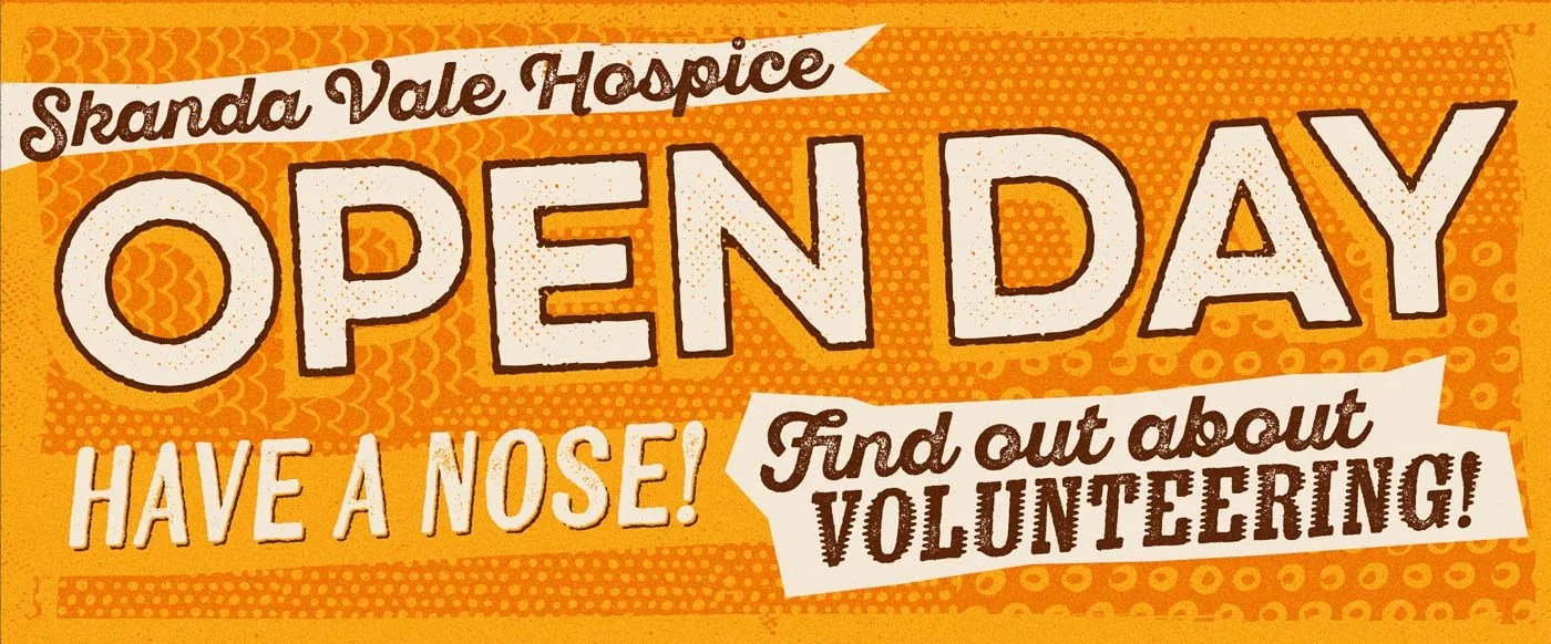 A poster for a volunteer open day at Skanda Vale Hospice