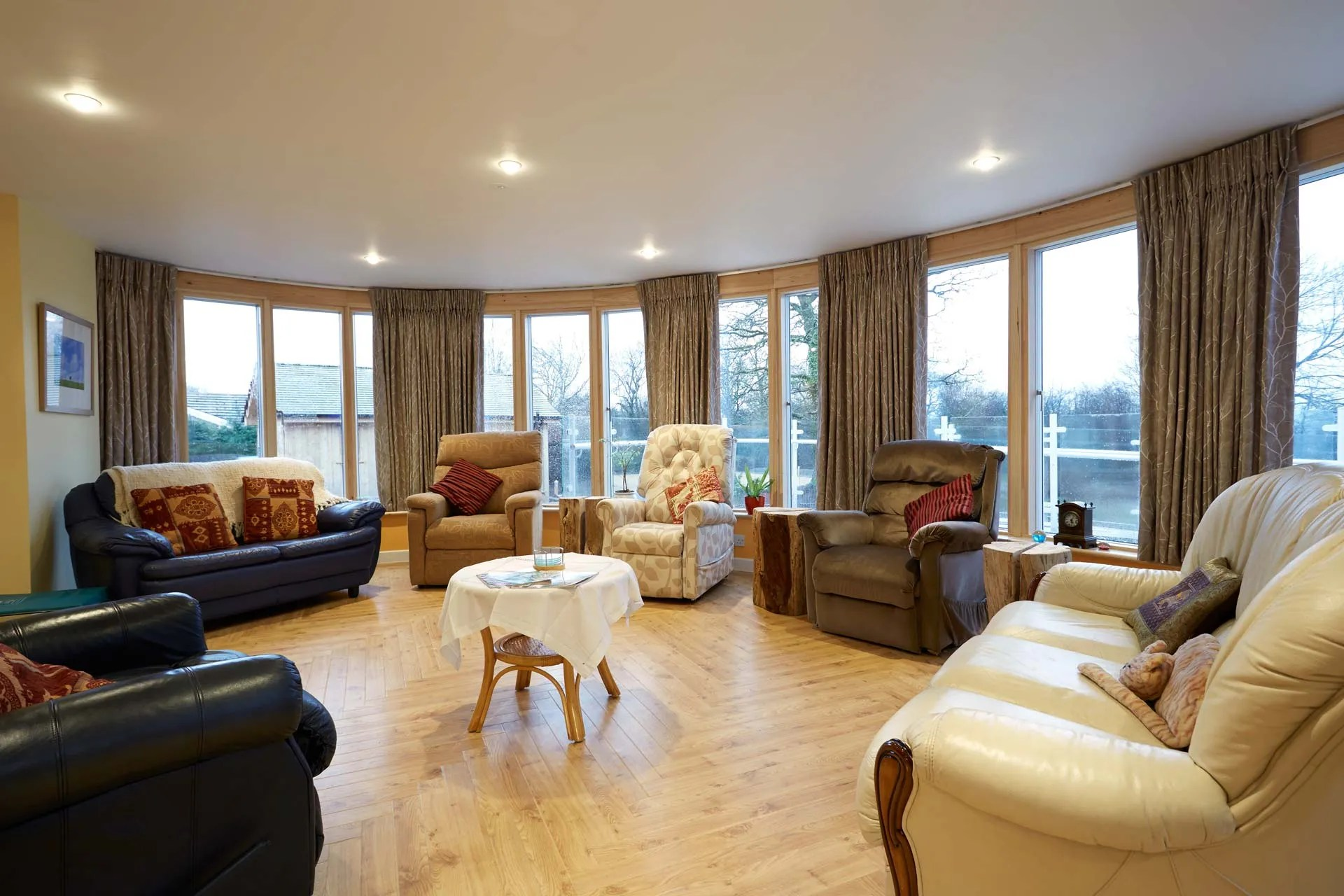 This is our lounge and sun room, with views over the garden. Open for day patients and overnight guests.