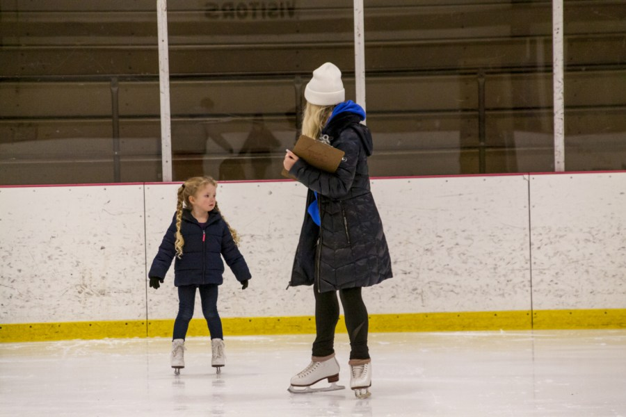 Coach Genavieve working with one of our skaters