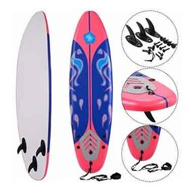 Giantex 6′ Foamie with Removable Fins Beginner Surfboard