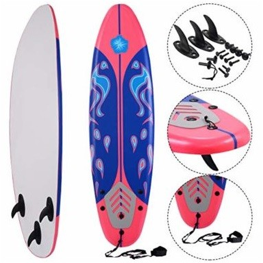 Giantex 6' Foamie with Removable Fins Beginner Surfboard