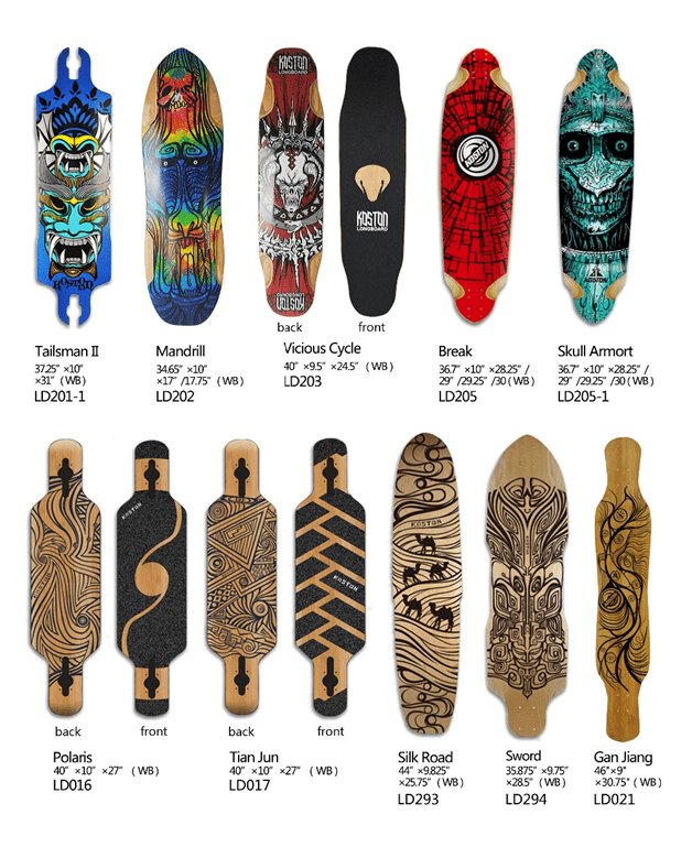 Size and shape of longboard and skateboard.