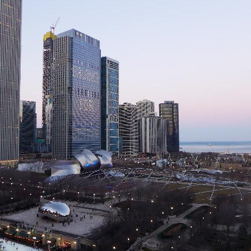 Chicago. Le loop au crépuscule.