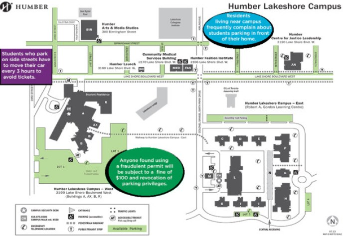 Parking options for students around campus