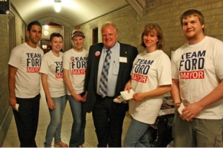 Rob Ford with his 2010 election team in Toronto, Ontario.