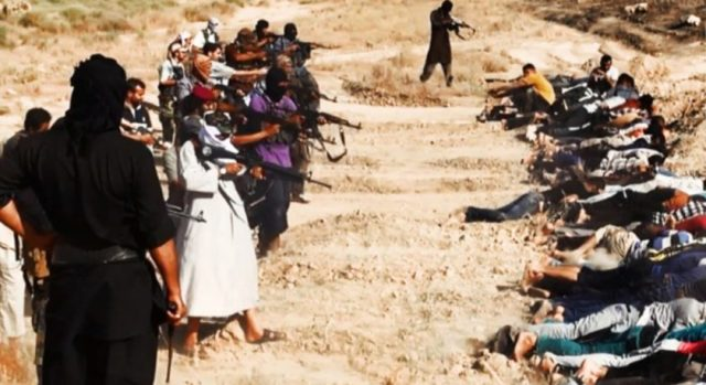 In this image it is claimed that Members of ISIS are preparing to execute some soldiers from Iraq's security forces. It is one of many reportedly posted by the militant group online. WARNING: the authenticity of the images has not been independently verified.