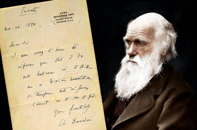 Charles Darwin the famous naturalist. See SWNS story SWDARWIN: A private letter where Charles Darwin admits he doesn't believe in the bible or that Jesus was the son of God has sold for £125,000 - more than twice the estimated value. The esteemed naturalist and geologist was famous for keeping his religious views to himself and very rarely discussed the existence of God. It is thought the scientist, famous for his study on evolution, avoided the subject so he didn't offend friends and family. But in a handwritten letter to a potential reader he shared his honest thoughts.