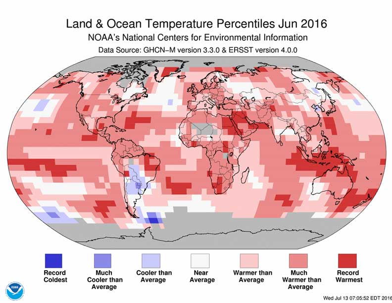 June 2016 Blended Land and Sea Surface Temperature Percentiles