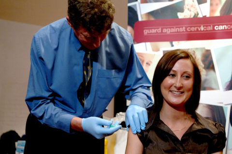 Kate Willetts, Aug 28 2008, the first woman to receive the world's first cervical cancer vaccine, Gardasil. Credit 2008, AAP.