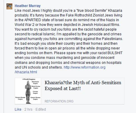 Comments from Anti-semitic Racist Facebook Troll