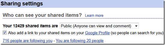 Google Reader Sharing Stats