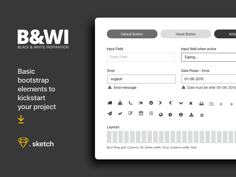 Black And White UI Elements Sketch Freebie Download Free Resource For Sketch Sketch App Sources