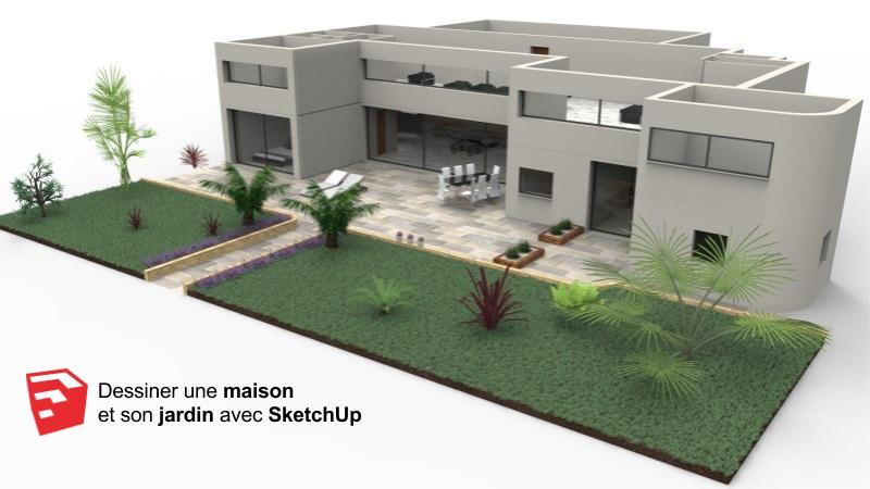 Tutoriel vidéo - Dessiner une maison en 3D et son jardin avec SketchUp et Dibac