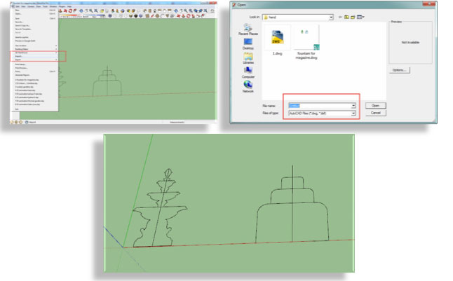 Import your design from CAD to Sketchup