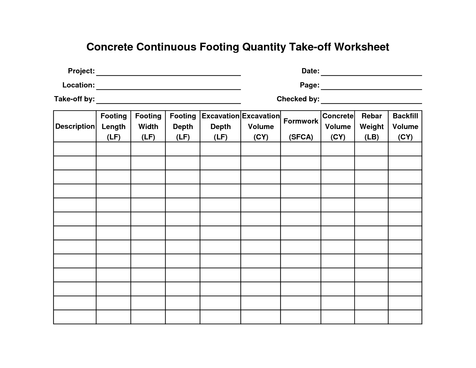 Concrete Takeoff Concrete Estimating Concrete Foundation Pricing