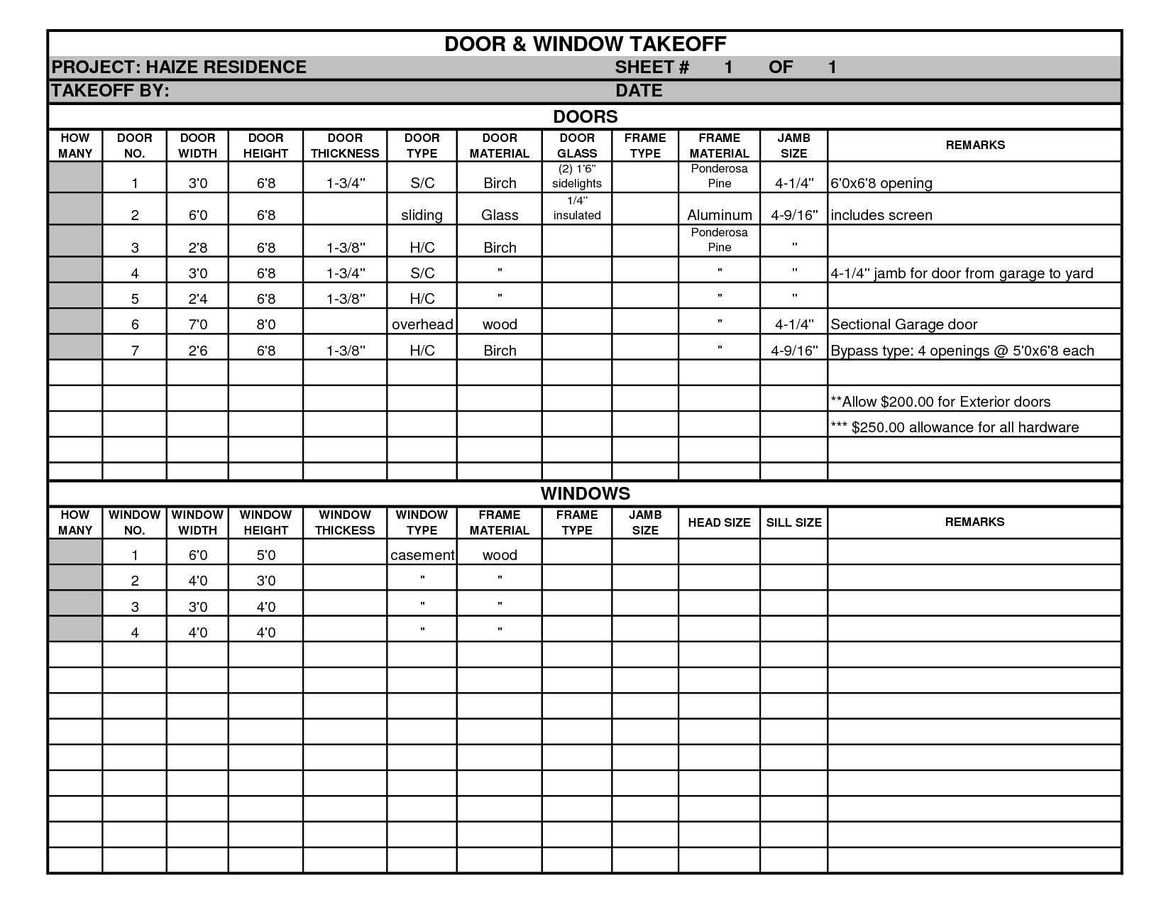 Download Door And Window Takeoff Sheets