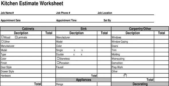 Interior Design Estimate Excel Sheet India