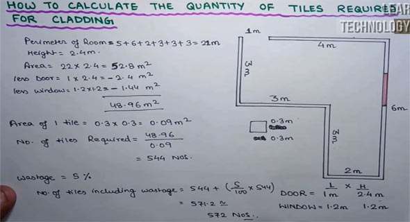calculate quantity of tiles for cladding tiles mortar calculation