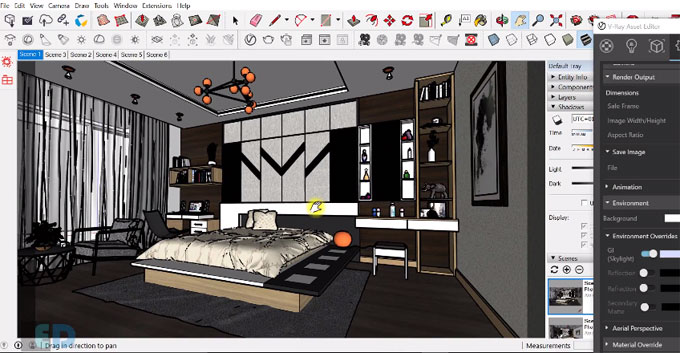 How To Render A Bedroom With Vray 3 4 For Sketchup 2017 Sketchup World