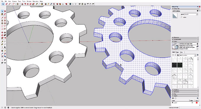 How to generate gears in sketchup with circle, offset & rotate tools