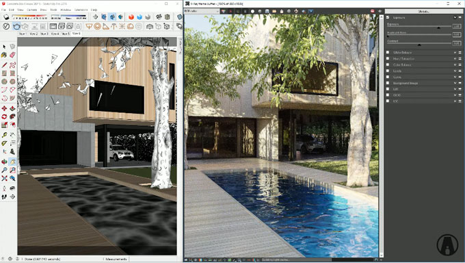 How perform exterior rendering for a concrete box house with v-ray for sketchup