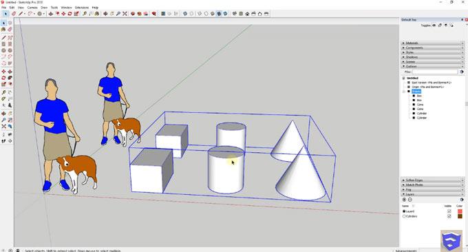 Demonstration of outliner tool inside sketchup