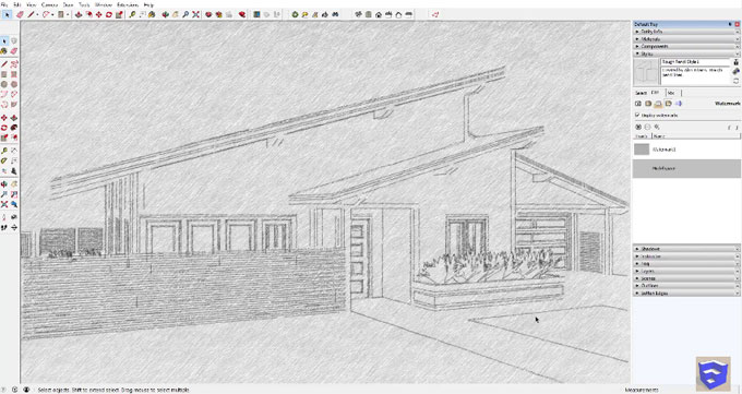How to apply a pencil drawing style to your sketchup model