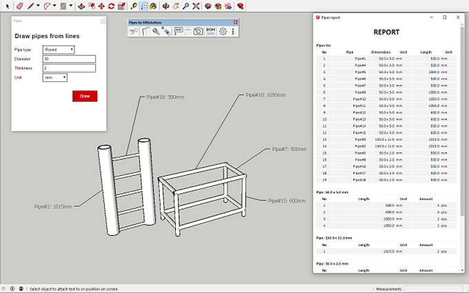 Pipes Tubes Profiles 1.2.0 for Sketchup