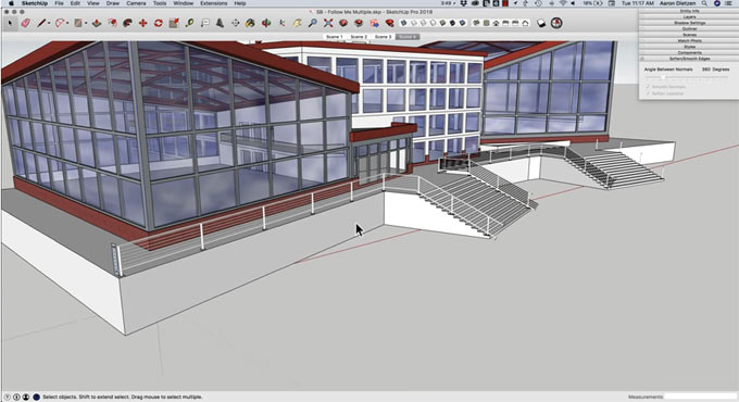 How to do follow me with multiple shapes in sketchup
