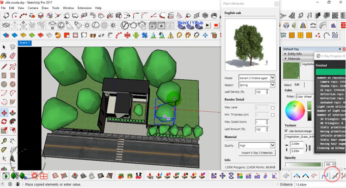 How to model and design a villa scoda with sketchup 2017 and V-ray 3.4