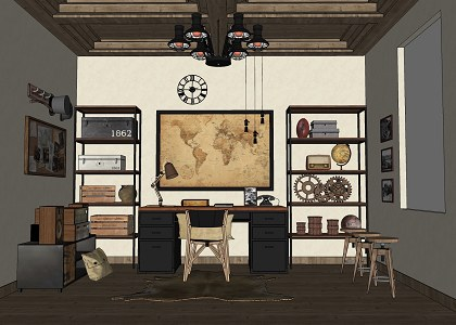 Free 3d Models Guys Room Working Room Vintage Style