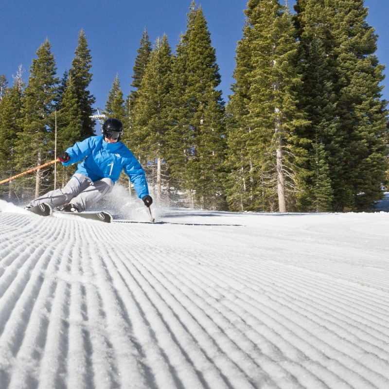 Groomer skiing at Canyons