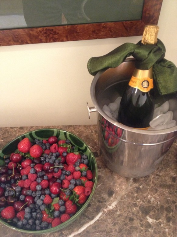 Champagne and fresh berries, compliments of the Ritz Carlton, Bachelor Gulch.