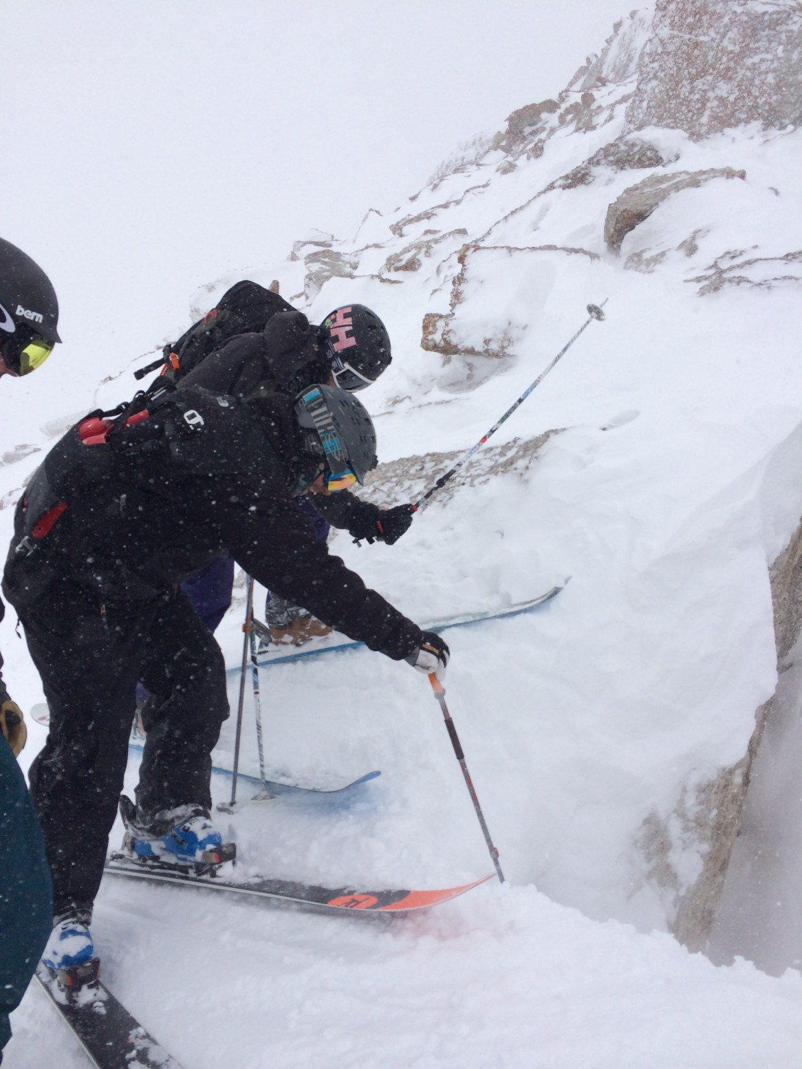 A little pole whacking at the top of S&S Couloir.