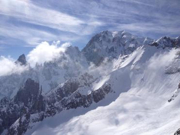 The gigantic Mont Blanc, the tallest mountain in Europe, looms above.