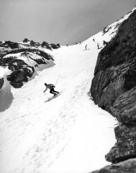 Skiing down Hillman's Highway