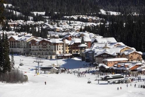 Sun Peaks base village, Sun Peaks ski in, ski out lodging