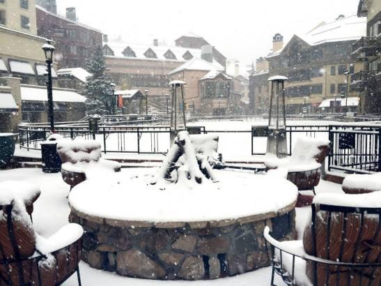 "Beaver Creek Village's ice rink is looking quite wintry bedecked in 7"" of snow."