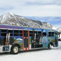 The free downtown bus provides skiers easy access to and from downtown Crested Butte and the resort base village.
