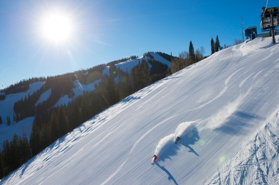 Skiing corduroy at Aspen Snowmass